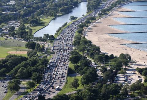 Lake Shore Drive, Lincoln Park lagoon and beaches as seen from above near North Avenue on July 3, 2014.