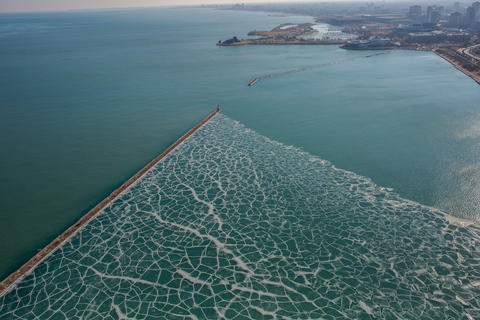 An aerial view of ice floating in Monroe Harbor in Chicago on Jan. 27, 2016.