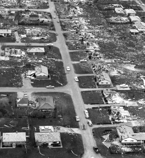An aerial view of damage in Lake Zurich after a tornado struck the village and surrounding areas.