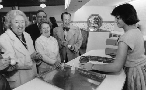 June 4, 1986: Jessie Stone, Robert Terese, Corrine Owen and W. Clement Stone sample the Lambs' new ice cream parlor.