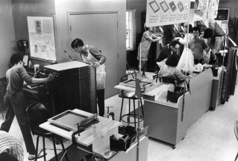 "June 18, 1974: The ""Lambs"" make silk screens in the arts and crafts building."