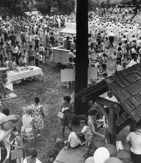 June 27, 1966: People at the Lambs Country Fair watch the Great Lakes band perform.