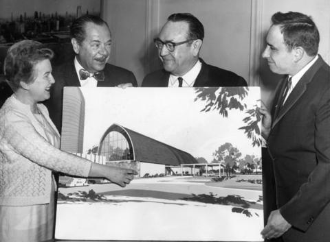 April 11, 1965: Corinne Owen; philanthropist W. Clement Stone, who bought and donated the farm; Joseph T. Meek, president of the Illinois Retailers Association; and Robert Terese view a sketch of the future Lambs Farm.