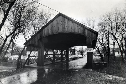 Dec., 1973: Long Grove's historic covered bridge.