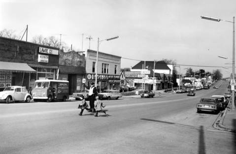 Feb., 1966: A view of downtown Libertyville looking north from Milwaukee Avenue and Main Street.