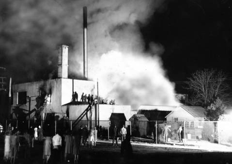 April, 1948: Firefighters from five communities battle a blaze at the Libertyville Textiles Plant.