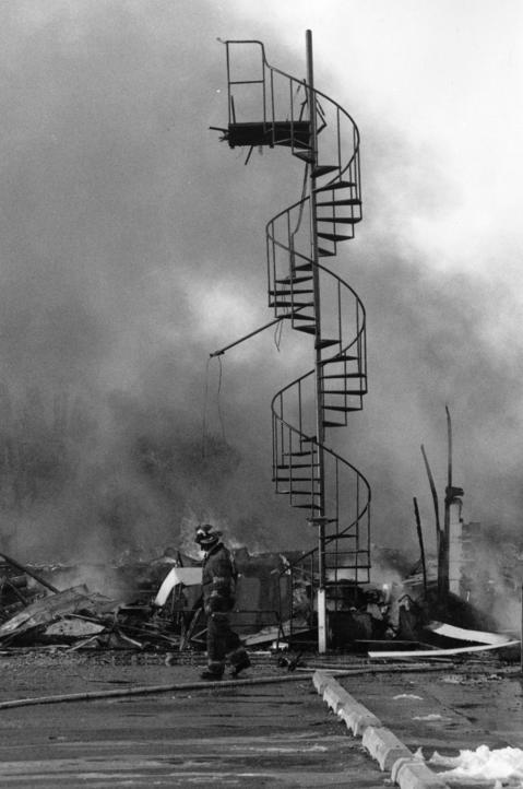 March, 1992: A stairway is all that remains of a recreational building destroyed by an extra-alarm fire at the Glenview Naval Air Station. No one was injured, and damage was estimated at $10 million.
