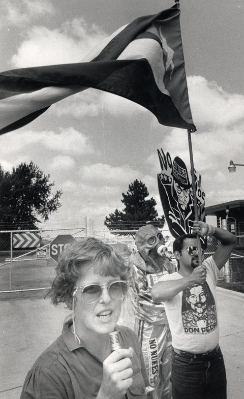 Aug., 1984: Banners and chants float through the air in front of Glenview Naval Air Station as demonstrators protest the U.S. Navy's role in Central America and Puerto Rico. The group, which called itself the New Movement in Solidarity with Puerto Rican Independence and Socialism, marched to against personnel training on equipment they claim is used against the Salvadoran and Nicaraguan people.