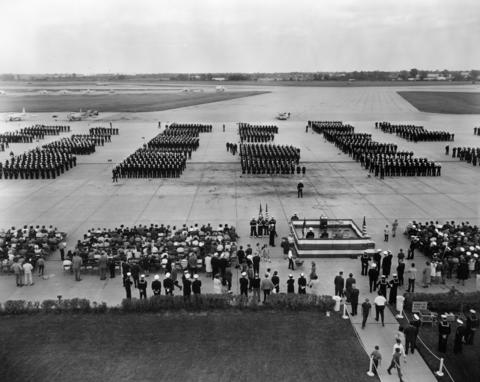Oct., 1968: An overhead shot from the base's 22nd annual Military Personnel Inspection. Many high ranking officers and visiting dignitaries attended the colorful event.