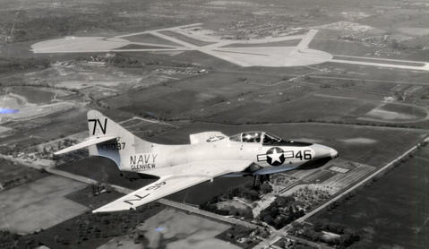 May, 1961: Glenview-based Navy jets like this one are factors in a controversy between the base and the village of Glenview over a proposed landfill north of the air station.