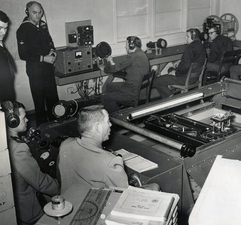 May, 1961: A squadron is trained in anti-submarine warfare, using sonic waves instead of a radar. The ultra sonic radar trainer stimulates an actual attack on a submarine.