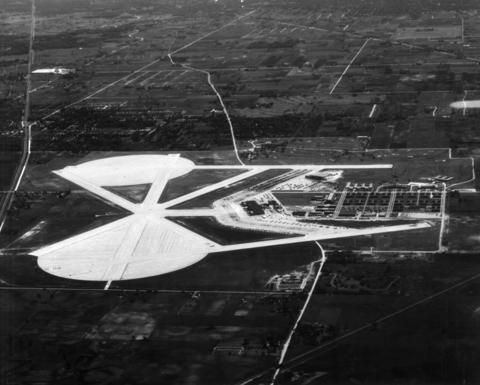 "May, 1946: Aerial view of the NAS Glenview, which will be open for a ""drive through"" inspection (by automobiles only) on the first anniversary of V-E Day on May 8. Descriptive posters along the route described the functions of the station buildings and there was a large display of the Navy's latest type service and training planes."