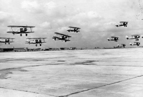 March, 1943: A flight of training planes takes off at Glenview.