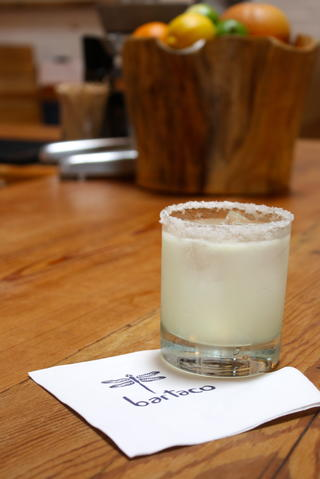 Ingredients: Chinaco Blanco, Combier Liquer d'Orange, agave syrup, lime juice Price: $9.50 for a glass, $48 for a carafe  The signature drink of Bartaco, the margarita is made with limes squeeze fresh right in front of you, no sour mix.