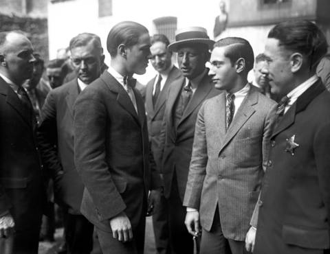 """Richard Loeb, 18, left, and Nathan Leopold Jr., 19, right, look at each other accusingly after they gave separate confessions to the killing of Robert """"Bobby"""" Franks on May 21, 1924, in Chicago. The confessions were finally given on May 31, 1924, after Leopold's glasses were found next to Franks' body at 121st Street and the Pennsylvania railroad tracks. Leopold and Leob had said they were out in the remote area to bird watch."""