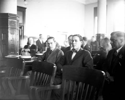 """Attorney Clarence Darrow surprised the world by having Nathan Leopold Jr., left, and Richard Loeb, right, plead guilty in their trial for the murder of Robert """"Bobby"""" Franks in 1924. Darrow hoped he could save the two youths from being hanged."""
