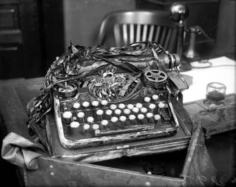"""Nathan Leopold's Underwood typewriter was found in the Jackson Park lagoon on June 7, 1924, and cinched the case against Richard Loeb and Nathan Leopold Jr. for the killing of Robert """"Bobby"""" Franks. The duo used the typewriter to write a ransom note asking for $10,000 from Franks' millionaire father. The pair twisted off many of the keys with pliers in an attempt to prevent the typewriter from being traced back to them."""