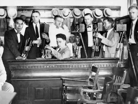 A rare picture of the cameramen who occupied the jury box at the Leopold and Loeb trail.