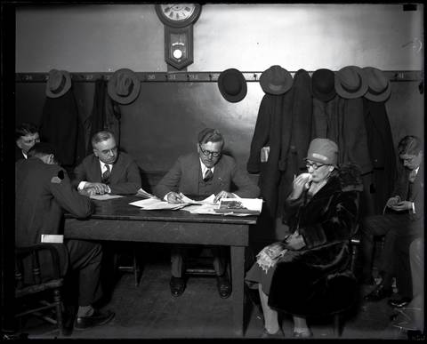 """Mrs. Josephine Schwimmer, the mother of murdered Dr. Reinhardt Schwimmer, 29, at an inquest for the St. Valentine's Day Massacre on Feb. 15, 1929 at the Hudson Avenue police station in Chicago. Dr. Reinhardt Schwimmer was the only one of the seven men killed who was not in the George """"Bugs"""" Moran gang. The Chicago Tribune noted that Schwimmer was an optometrist with a hoodlum complex, who liked to associate with gangsters."""