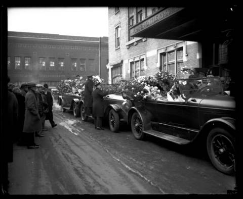 """The funeral for gangster brothers Frank and Peter Gusenberg was held on Feb. 18, 1929, and was packed with floral arrangments, including one heart believed to be sent from gang leader George """"Bugs"""" Moran. The brothers were leaders in the Bugs Moran gang."""