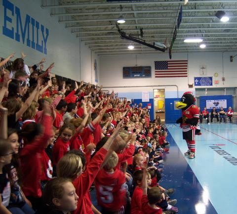 Tommy Hawk visited St. Emily School for an assembly on teamwork: caring, trustworthiness, responsibility and respect.