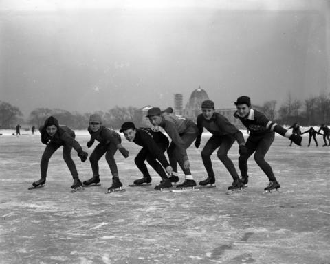 Frances Malped (Barrett), from left, Tom Cerny (Peirce), Bob Verhulst (Swift), Earl Johnson (Peirce), Fred Gross (Peirce), and Buddy Solem (CYO),are ready to speed skate at Garfield Parkin1943.