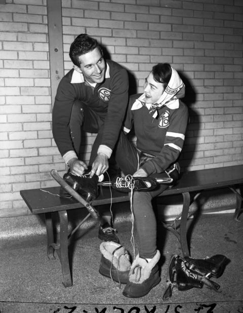 """Ice skaters Richard """"Buddy"""" Solem and his wife Patricia [Nikoleit] in 1950. At age 15 (in 1942), Buddy had entered every Silver Skates event since the age of seven. He won his first Silver Skates event at age 11. Buddy was also the captain of his ice skating team at Schurz High School and competed with the Catholic Youth Organization. Buddy made the Olympic team in 1948. The Silver Skates competition was an event put on by the Chicago Tribune."""