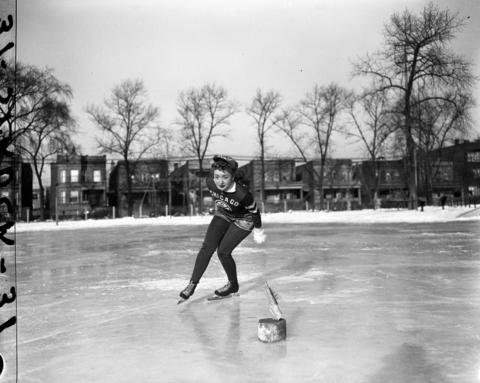 Loretta DuMeg ice skates with the Catholic Youth Organization (C.Y.O.) in 1944.
