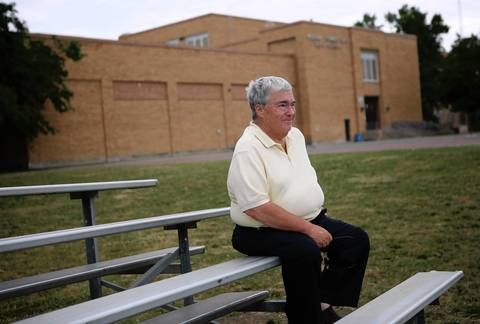 Jerry Krause at his alma mater, Taft High School, in 2012.