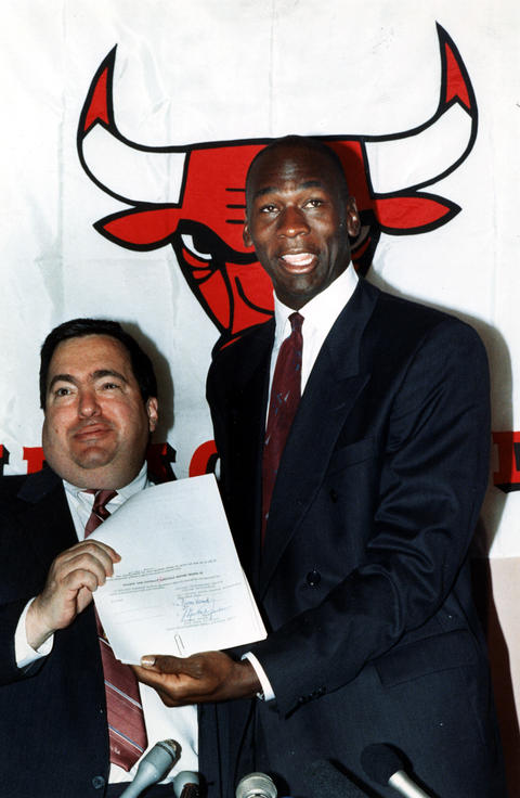 Jerry Krause, Vice President of Basketball Operations, left and Michael Jordan during a news conference.