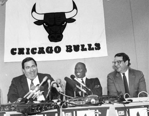 Michael Jordan attends a press conference to announce a contract extension on Sept. 20, 1988 that will insure Jordan's remaining a part of the Bulls organization for the next eight years.