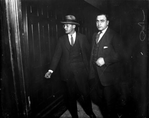Beer runner Al Capone, who used the alias Al Brown, in criminal court in this undated photo.