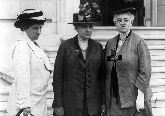 Julia Lathrop, from left, Jane Addams, and Mary McDowell in Washington, 1913, on a suffrage mission at Capitol Hill.