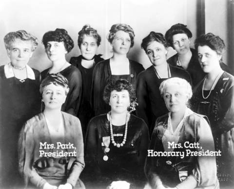 The Board of Directors for the National League of Women Voters at a Chicago Convention in February 1920. Ten women, including, from left (seated), League President Mrs. Maud Wood Park, Mrs. Grace Wilbur Trout of Chicago, and Honorary President Mrs. Carrie Chapman Catt.