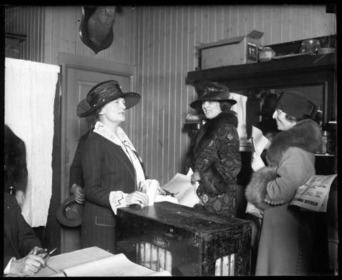 Mrs. Jacob (Bertha) Baur casts her vote during a presidential primary. Mrs. Baur marched in the 1916 suffrage parade in Chicago for women to have the right to vote. After gaining the vote, Baur ran an unsuccessful campaign for Congress on the wet ticket. Undated photo.
