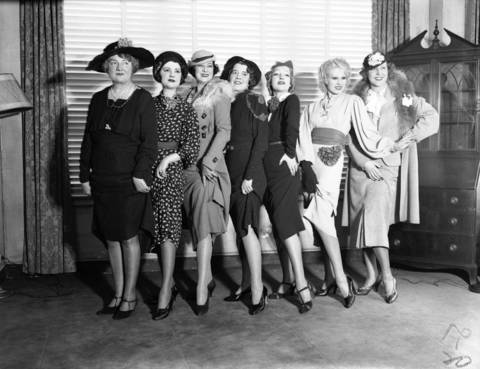 Ziegfield Follies Girls, from left, are Annabelle Whitford, Jessie Reed, Ray Price, Margaret Fitzgerald, Joan Joyce, Faith Bacon, Mrs. Meredith Howard Erskine at the Edgewater Beach Hotel in 1936.