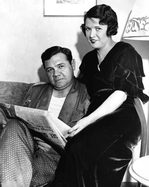 Babe and Claire Ruth relax in their room at the Edgewater Beach Hotel on Oct. 4, 1932, while in town for the 1932 World Series. Ruth hit .333 with two home runs in the four-game sweep.