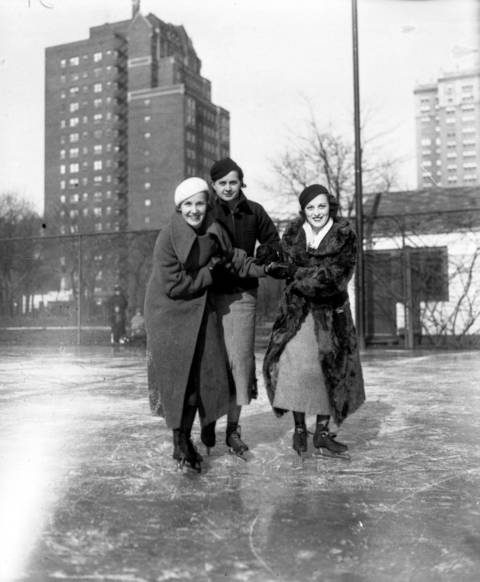 Delta Olson, from left, Ina Betts and Kay Quinlisk are the first skaters on the ice rink at the Edgewater Beach Hotelin1935.