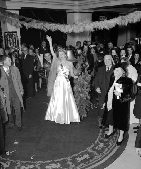 """""""Maryea"""" is the Spirit of 1944 victory. She was pushed around the hotel ringing a bell wishing everyone a Happy New Year on New Year's Eve at the Edgewater Beach Hotelin1944."""