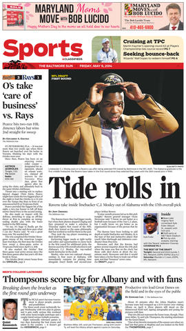 The Ravens looked again to Ozzie Newsome's alma mater, plucking Alabama inside linebacker C.J. Mosley with the No. 17 pick.