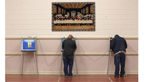 The voting booths were evenly spaced along the wall at Trinity United Methodist.