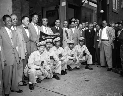 Chinese anti-communist returnees, Chien Yu-Chi, Hu An-Kang, Chang Tsun-Hsien, Chao King-Chung, and Kao Cheng-Chung, at 216 W. 22nd Place in Chinatown in 1954.
