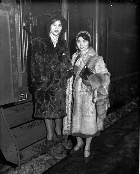 Wu Yim Chon and Wu Lai King, daughters of Chao-Chu Wu, the Chinese ambassador to the United States, arrive at Union Station in Chicago on their way back to China in 1931.