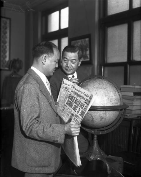 "Tom Lee, left, and the ""mayor of Chinatown,"" Frank Moy, in 1936."