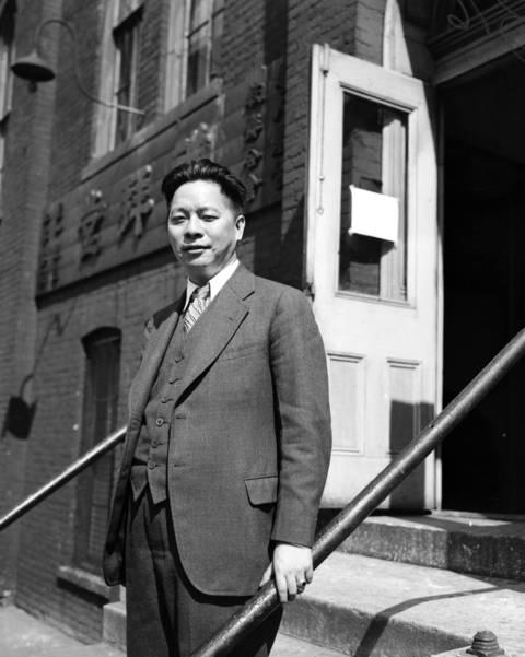 "Gerald Moy, the closest cousin to previous Chinatown ""mayor"" Frank Moy and the new unofficial mayor of Chinatown, is seen in Chinatown in 1937. Frank Moy died in 1937."