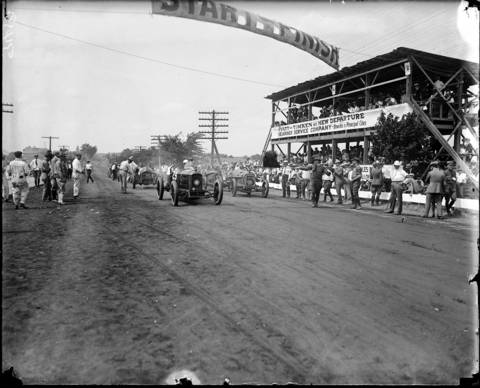 The start of the Elgin National Road Races on Aug. 23, 1919. The annual dirt-track races went from 1910 to 1920, except for a three-year break during World War I. Tommy Milton was the winner in 1919, racing 301 miles in a Duesenberg and winning the Elgin National Watch Company trophy.