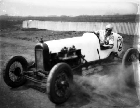 Chicagoan Karl Young at Roby Speedway, circa May 1, 1932. Roby Speedway was a one-mile oval dirt track in Hammond, Indiana.