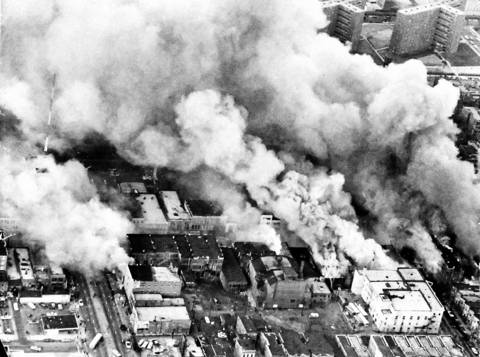 On the first day of rioting after the assassination of Martin Luther King Jr., smoke from fires on Madison Street filled the sky above on the West Side of Chicago in 1968. Three hundred-fifty people were arrested for looting, and 162 buildings were destroyed by arson.