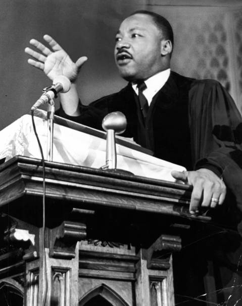 The Rev. Martin Luther King Jr. speaks from the pulpit of Quinn Chapel A.M.E. Church at 2401 S. Wabash Ave. in Chicago.
