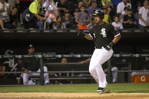 Jose Abreu runs to home to score on a hit from Brett Lawrie during the fifth inning at U.S. Cellular Field on June 13, 2016.